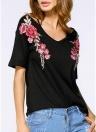 Femmes T-shirt Contraste Floral Broderie Col V Épaule froide Manches courtes Lâche Casual Tops Blanc / Noir