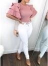Женщины Топы сплошной цвет Ruffles Галстуки круглый шею с коротким рукавом вскользь блузка розовый