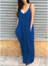 Boho Sleeveless V Neck Solid Sundress Pocket Loose Maxi Dress