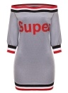Off The Shoulder Contrast Stripes Letters T-shirt Dress