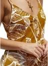 Sleeveless Leaves Print Strappy Backless Deep V-neck Mini Dress