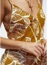 Без рукавов Листья Печать Штриховатый Backless Deep V-образным вырезом Мини-платье