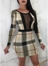 Plaids Print Cut Out Mesh devant manches longues robe