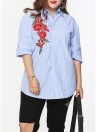 Plus Size Striped Floral Embroidery Long Sleeve Casual Loose Blouse