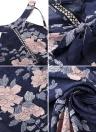 Chiffon Floral Print Halter Sleeveless Split Backless High Waist Elegant Gown Dress