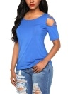 Cold Shoulder Short Sleeves Cut Out Crisscross Solid Tees Shirts