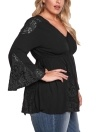 Plus Size Lace V Neck Long Bell Sleeves Tassel Tie Blouse
