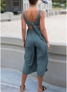 Solid Button Front V Neck Sleeveless Backless Straight Leg Playsuit