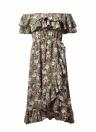 Boho Floral hors de l'épaule robe à volants taille haute Cross Asymmetric Midi Dress