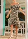Бохо Цветочный с плеча Ruffle платье Высокое талии Крест асимметричный Midi платье