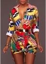Women Print Deep V Neck Dress Long Sleeves Party Evening Dress