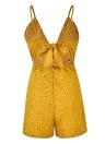 Lace Up court taille haute V sangle Backless Bow Boho Jumpsuit
