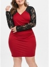 Plus Size Lace V Neck Long Sleeve Contrast Color Dress