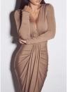 Твердый глубокий V шеи Split Ruched платье с длинным рукавом Slim Maxi платье