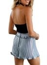 Camisola de alças ajustáveis torcidas contínuas da correia da parte superior da colheita de Topless