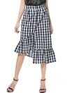 Plaids Asymmetrical Hem Ruffles Button Down Mermaid Skirt