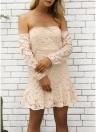 Summer Floral Off the Shoulder Dress Sweetheart Long Sleeve Mini Dress