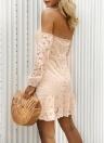 Floral de verão fora do ombro vestido querida Mini vestido de manga longa