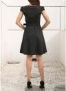 Women Elegant Buttons Pleated Skirt Midi Waist Belt OL Wear Dress