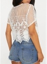 Crochet Lace Hollow Out O-Neck Short Sleeves Scalloped Blouse