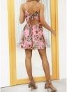 Women Floral Tassels Mini Dress Tie Back Backless Party Beach Dress