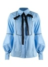 Women Office Bow Tie Blouse Lantern Sleeve Tunic Button Down Shirts  Top