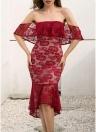 Mulheres Evening Party Lace Sereia Vestido Ruffles Assimétrica Vestido Hemline Vestido