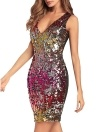 Women Bodycon Sequin Sleeveless Dress Elegant V-Neck Party Dress