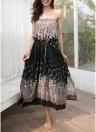 Boho Women Off the Shoulder Floral Long Dress Sleeveless Tassels Beach Dress