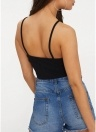 Frauen Lace Up Front Cropped Top Gehäkelte Spitze Spaghetti-Trägern Casual Tops