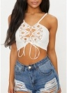 Mulheres Lace Up Frente Cropped Top Lace Crocheted Spaghetti Straps Casual Tops