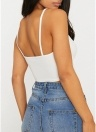 Women Lace Up Front Cropped Top Crocheted Lace Spaghetti Straps Casual Tops