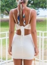 Women Cropped Top Skirt Set Self-tie Back Asymmetrical Hem Two Pieces Set