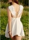 Femmes Dentelle Ailes d'Ange Robe Summer Backless Club Party Mini Dress