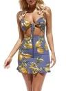 Mujeres del vestido del amor de la tela escocesa floral del vendaje de la correa de espagueti del punto Mini desgaste del día de fiesta