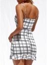 Женщины Цветочные Плед Милая Платье Бинты Вязание Спагетти ремень Мини Праздничная одежда