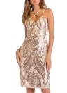 Femmes Summer Gold robe de paillettes de luxe Party Club Wear Midi robe moulante