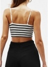 Frauen Cropped Camisole Top Kontraststreifen Sleeveless Open Back Bustier Club Wear