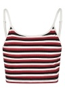 Women Cropped Camisole Top Contrast Stripes  Sleeveless Open Back  Bustier Club Wear