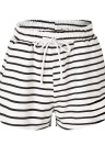 Femme Shorts Contraste Stripes Print Drawstring Poches Splits Large Legs Plage Wear