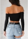 Mujeres Crop Top sólido cruzado sobre V cuello Ruching Sexy Night Club Wear