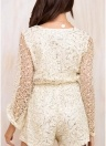 Women Rompers Lace Hollow Out  Flare Sleeve Glitter Slim Jumpsuit Playsuit