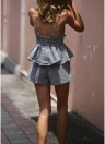 Women Two Piece Set  Slip Tank Top Bow Ruffles Checked Shorts Suits