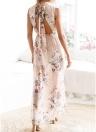 Femmes Boho Floral longue robe Split Summer Casual Beach Maxi Dress