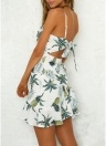 Femmes Floral Pineapple Strap Dress Backless Asymétrique Volants Plage Vêtements de vacances