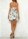 Women Floral Pineapple Strap Dress Backless Asymmetric Ruffle Beach Holidaywear