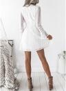 Женщины Кружева Цветочные Твердые Вязание крючком Платье Высокий Chocker Slim Mini Элегантный One-Piece