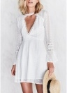 Women Lace Floral Solid Crochet Dress High Chocker Slim Mini Elegant One-Piece