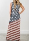 Drapeau américain Star Stripe Print Dress Casual Long Sleeveless lâche longue robe