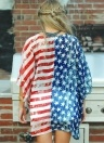 Open Front American Flag Start Striped Print Casual Loose Cardigan